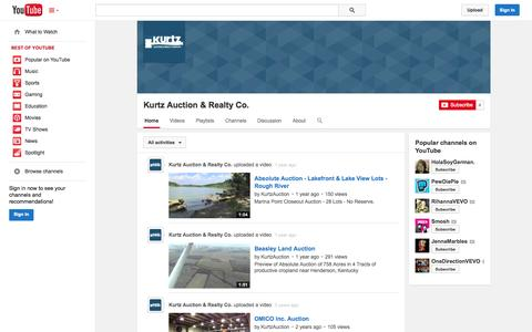 Screenshot of YouTube Page youtube.com - Kurtz Auction & Realty Co.  - YouTube - captured Oct. 23, 2014