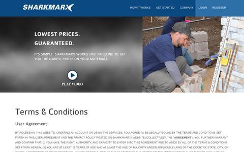 Screenshot of Terms Page sharkmarx.com captured Sept. 17, 2014