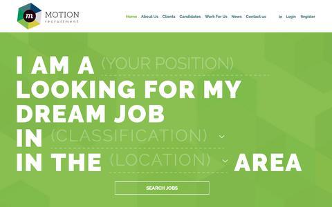 Screenshot of Home Page motionrecruitment.com.au - Motion Recruitment | Specialist in IT Recruitment - captured Oct. 20, 2018