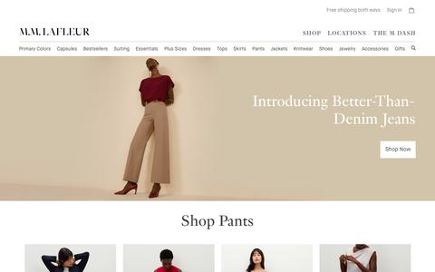 Screenshot of Home Page mmlafleur.com - M.M.LaFleur | Live with purpose. Dress with ease. - captured Feb. 5, 2020