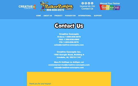 Screenshot of Contact Page puckerpowder.com - Pucker Powder | Contact Us - captured Nov. 5, 2018