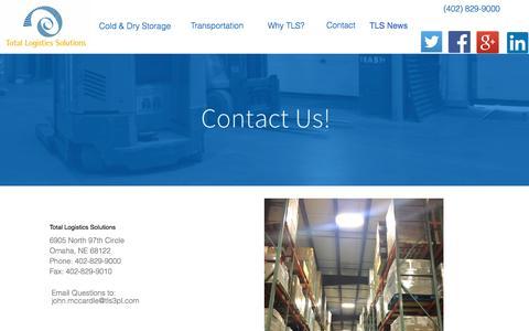 Screenshot of Contact Page tls3pl.com - Warehouse Contact - captured Dec. 13, 2016