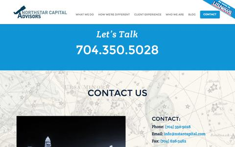 Screenshot of Contact Page nstarcapital.com - Getting Started with Fee Only Investment Advisors & Planners | Charlotte NC | NorthStar Capital Advisors - captured Nov. 30, 2016