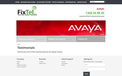 Screenshot of Testimonials Page fixtel.com.au - Testimonials | Fixtel - captured Oct. 30, 2014