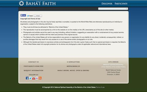 Screenshot of Terms Page bahai.us - Copyright and Terms of Use – Bahai Faith   Baha'i Faith   United States Official Website - captured Sept. 19, 2014