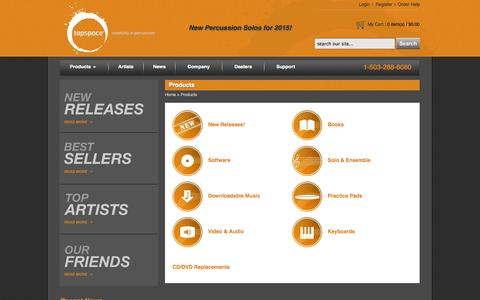 Screenshot of Products Page tapspace.com - Products: Tapspace - Creativity in Percussion - captured Oct. 9, 2014