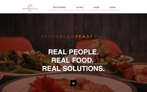 Screenshot of Home Page epicureanfeast.com - Epicurean Feast Cafés - captured July 20, 2018