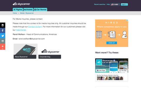 Screenshot of Press Page skyscanner.com - Media | Skyscanner - captured Sept. 1, 2016