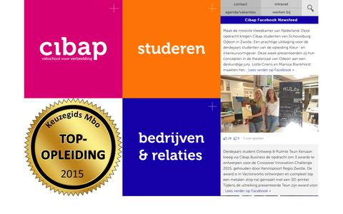 Screenshot of Home Page cibap.nl - Cibap vakschool voor verbeelding | - captured June 18, 2015