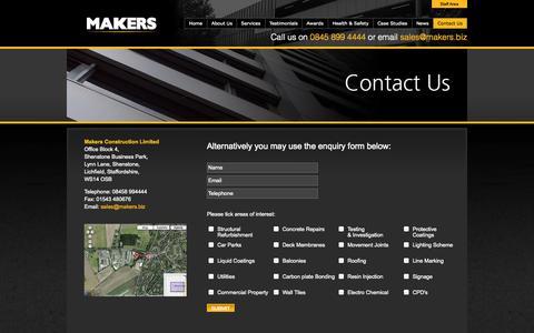 Screenshot of Contact Page makers.biz - Contact Makers | makers.biz - captured Oct. 4, 2014