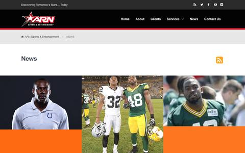 Screenshot of Press Page arnsports.com - News | ARN Sports & Entertainment - captured Oct. 7, 2017