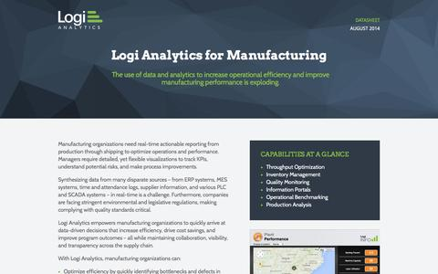 Screenshot of Landing Page logianalytics.com - Manufacturing Datasheet | Logi Analytics - captured Oct. 22, 2016