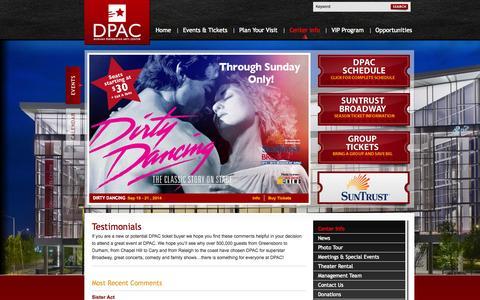 Screenshot of Testimonials Page dpacnc.com - Official Website Durham Performing Arts Center :: Testimonials - captured Sept. 22, 2014