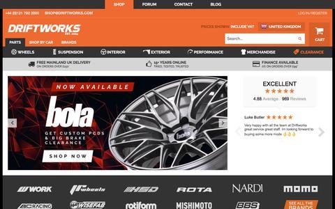 Screenshot of Home Page driftworks.com - Driftworks | Street & Race Car Parts Shop - captured Sept. 21, 2019
