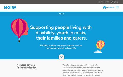 Screenshot of About Page moira.org.au - MOIRA is a Melbourne based not-for-profit service provider working across disability, family, youth and aged care sectors.    MOIRA   Disability & Youth Services - captured June 12, 2017