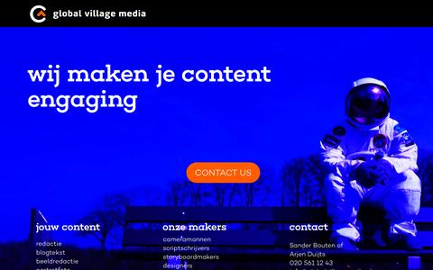 Screenshot of Home Page globalvillagemedia.nl - Global Village Media - captured July 19, 2018
