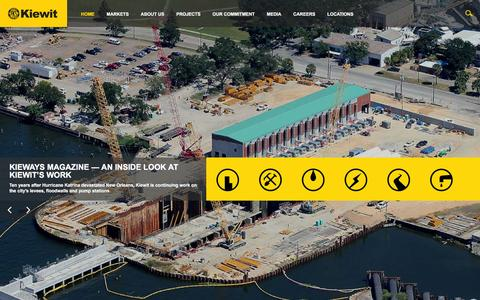 Screenshot of Home Page kiewit.com - Kiewit : Construction, Engineering and Mining Services - captured Feb. 25, 2016