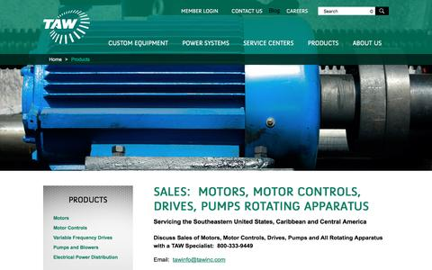 Screenshot of Products Page tawinc.com - Sales Motors Controls Drives Pumps Rotating Apparatus Florida Georgia - captured Jan. 22, 2016