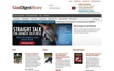 Screenshot of Home Page gundigeststore.com - Gun Supplies: Books, Accessories, Gun Values & Prices     GunDigestStore - captured July 2, 2017