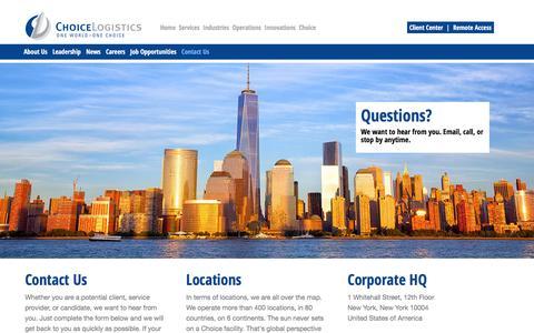 Screenshot of Contact Page choicelogistics.com - Choice Logistics - captured Dec. 8, 2015