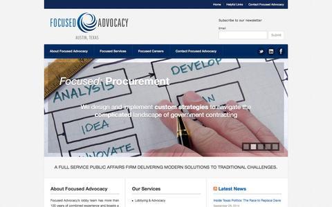 Screenshot of Home Page focusedadvocacy.com - Focused Advocacy - captured Sept. 30, 2014