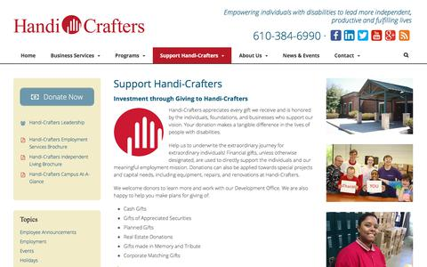 Screenshot of Support Page handi-crafters.org - Support | Handi-Crafters - captured July 15, 2018
