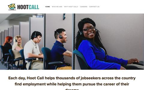 Screenshot of Home Page hootcall.com - Hoot Call - captured June 17, 2015