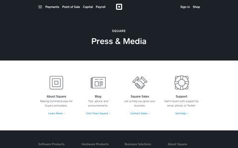 Screenshot of Press Page squareup.com - Press & Media - captured Nov. 26, 2018