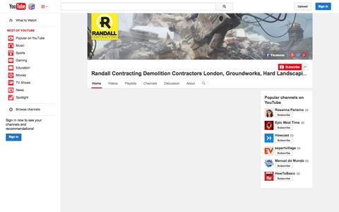 Screenshot of YouTube Page youtube.com - Randall Contracting Demolition Contractors London, Groundworks, Hard Landscaping Construction  - YouTube - captured Nov. 5, 2014