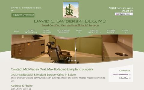 Screenshot of Contact Page midvalleyoms.com - Oral Surgery Office | 1565 Liberty Street SE Salem OR 97302 - captured July 2, 2018