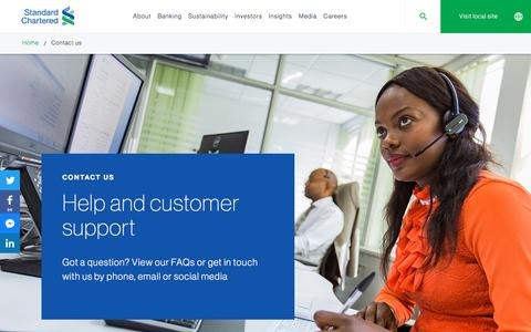 Screenshot of Contact Page sc.com - Contact us – customer service | Standard Chartered Bank - captured March 9, 2018