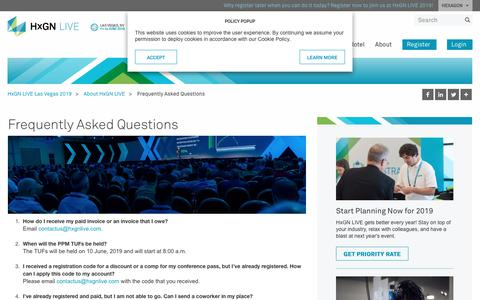 Screenshot of FAQ Page hxgnlive.com - Frequently Asked Questions | HxGN LIVE - captured Nov. 22, 2018