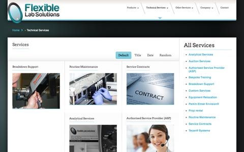 Screenshot of Services Page flexible-lab-solutions.co.uk - Technical Services - Flexible Lab Solutions - captured Sept. 30, 2014