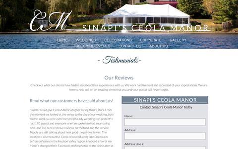Screenshot of Testimonials Page ceola.com - Sinapi's Ceola Manor | Jefferson Valley, NY | Testimonials - captured Feb. 4, 2016