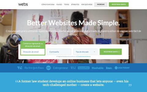 Screenshot of Home Page webs.soy - Editor de sitios web gratis | Crear una web gratis. - Webs - captured Jan. 31, 2015