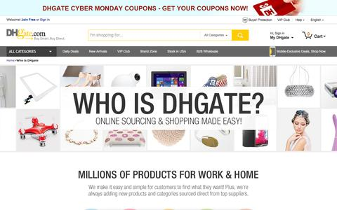 Screenshot of About Page dhgate.com - Who is DHgate? Online Sourcing & Buying Made Easy! - captured Nov. 23, 2015