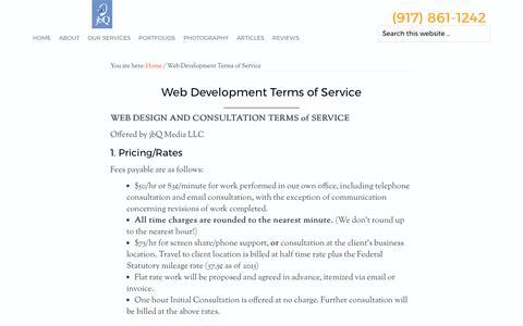 Screenshot of Terms Page jbq.net - Web Development Terms of Service - jbQ Media - captured Oct. 16, 2017