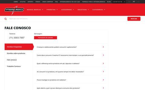 Screenshot of FAQ Page integralmedica.com.br - Fale Conosco | Integralmedica - captured Nov. 14, 2018