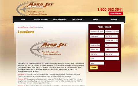 Screenshot of Locations Page aerojetservices.com - Aero Jet Services Locations - Jet Charter Locations - Private Jet Hubs - captured Dec. 22, 2015