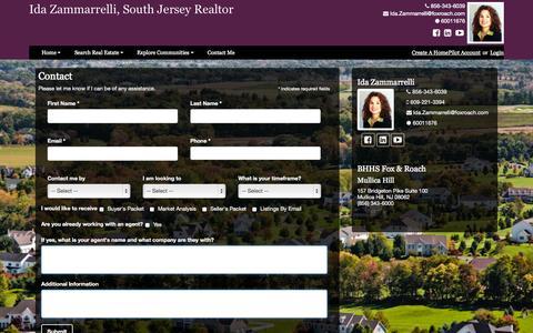 Screenshot of Contact Page southjerseyhometeam.com - Contact - Ida Zammarrelli, South Jersey Realtor - BHHS Fox & Roach, Mullica Hill - captured Oct. 6, 2014