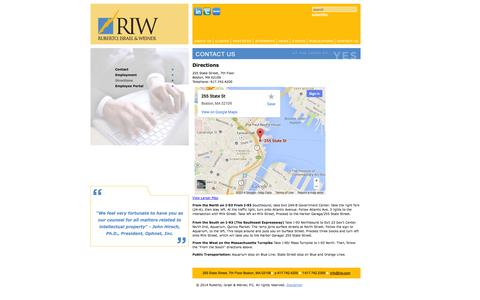 Screenshot of Maps & Directions Page riw.com - Directions - Contact Us - Ruberto, Israel & Weiner - captured Oct. 5, 2014
