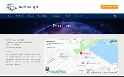 Screenshot of Maps & Directions Page northernlight.com - Competitive Intelligence for Enterprises | Directions to Northern Light - captured June 26, 2019