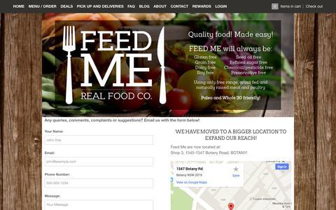 Screenshot of Contact Page feed-me.com.au - Contact – Feed Me - Real Food Co. - captured Nov. 3, 2014