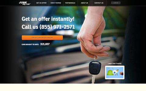 Screenshot of Home Page junkmycar.com - Sell Your Junk Car Instantly | Junk my Car - captured Sept. 19, 2014
