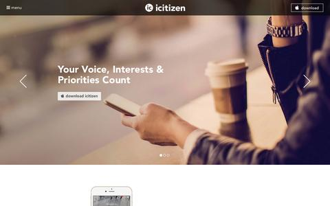 Screenshot of Home Page icitizen.com - icitizen | Civic Engagement - Where Your Voice Counts - captured Jan. 9, 2016