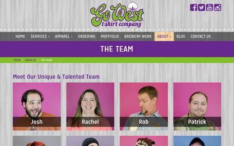 Screenshot of Team Page justgowest.com - The Team – Go West T-Shirt Company - captured Sept. 28, 2018