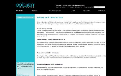 Screenshot of Terms Page epicuren.com - Privacy and Terms of Use - captured Sept. 23, 2014