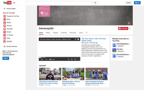 Screenshot of YouTube Page youtube.com - OrthoIndyIOH  - YouTube - captured Oct. 25, 2014