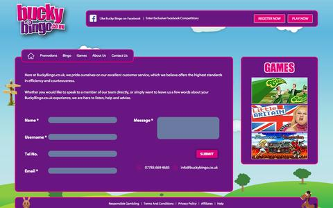 Screenshot of Contact Page buckybingo.co.uk - Contact Us - captured Oct. 30, 2014