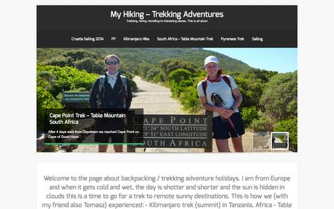 Screenshot of Home Page my-hiking.com - Adventures - Treks and Hikings by Tomasz - captured Sept. 13, 2015